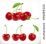 cherry. sweet fruit. 3d vector... | Shutterstock .eps vector #496089223