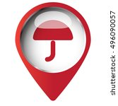 map pin symbol with umbrella... | Shutterstock .eps vector #496090057