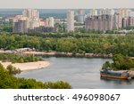 panorama of a modern city with... | Shutterstock . vector #496098067