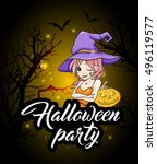 cute young witch and pumpkin.... | Shutterstock .eps vector #496119577
