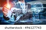 businessman moving digital... | Shutterstock . vector #496127743