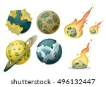 cartoon vector meteor object... | Shutterstock .eps vector #496132447