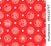 pattern of flat line icons on... | Shutterstock .eps vector #496133797