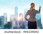 businesswoman pressing buttons... | Shutterstock . vector #496134043