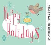 happy holidays. retro holiday... | Shutterstock .eps vector #496134487