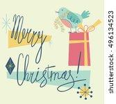 merry christmas. retro holiday... | Shutterstock .eps vector #496134523