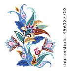 paisley ethnic decorative... | Shutterstock .eps vector #496137703