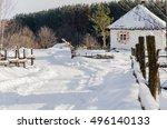 snowy winter village | Shutterstock . vector #496140133