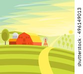 natural landscape farm. flat... | Shutterstock . vector #496149013