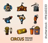 set of circus freehand icons... | Shutterstock .eps vector #496160233
