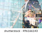 double exposure of businessman... | Shutterstock . vector #496166143