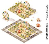 Vector isometric low poly amusement park | Shutterstock vector #496169623