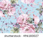 seamless pattern with flowers... | Shutterstock . vector #496183027