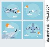 set of vintage flying poster... | Shutterstock .eps vector #496189207