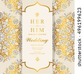 indian wedding invitation or... | Shutterstock .eps vector #496199623