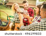 happy friends having fun and... | Shutterstock . vector #496199833