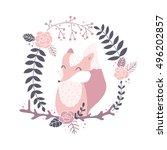 vector illustration  fox in a...   Shutterstock .eps vector #496202857