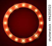 light bulbs on retro banner... | Shutterstock .eps vector #496203523