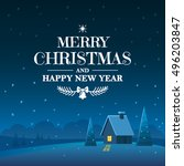 merry christmas and happy new... | Shutterstock .eps vector #496203847
