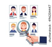 hr manager looking through a... | Shutterstock .eps vector #496204447