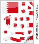 bahrain flag set   vector... | Shutterstock .eps vector #496205113