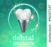 dental implant logo surgery... | Shutterstock .eps vector #496207147