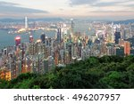 night scenery of hong kong... | Shutterstock . vector #496207957
