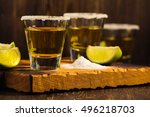 tequila shots  salt and lime... | Shutterstock . vector #496218703