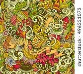cartoon cute doodles new year... | Shutterstock .eps vector #496221073