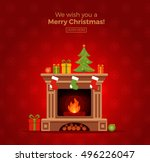 christmas fireplace room... | Shutterstock .eps vector #496226047