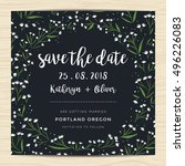 save the date  wedding... | Shutterstock .eps vector #496226083