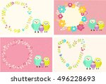 cutest family of owls on sweet... | Shutterstock .eps vector #496228693