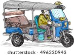 tuk tuk skech  traditional... | Shutterstock .eps vector #496230943