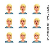 girl face expression  set of... | Shutterstock .eps vector #496243267