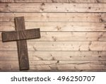 Wooden Cross On Brown Old...