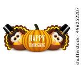 thanksgiving card with turkeys... | Shutterstock .eps vector #496252207
