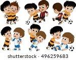set of cute kid played football ... | Shutterstock .eps vector #496259683