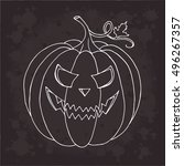 pumpkin vector on black... | Shutterstock .eps vector #496267357