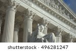 Small photo of WASHINGTON, DC - OCT 3, 2016: Equal Justice Under Law engraving above entrance to US Supreme Court Building. Supreme Court faces the US Capitol Building.