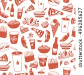 fast food hand drawn... | Shutterstock .eps vector #496285627
