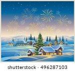 festive rural landscape with... | Shutterstock .eps vector #496287103