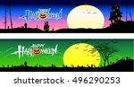halloween banner set pumpkin... | Shutterstock .eps vector #496290253