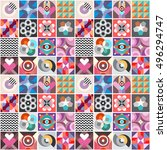 abstract geometric patterns... | Shutterstock .eps vector #496294747