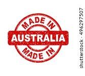 made in australia red stamp....   Shutterstock .eps vector #496297507