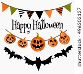 happy halloween greeting card... | Shutterstock .eps vector #496302127