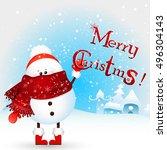 cute  funny  little snowman... | Shutterstock .eps vector #496304143