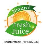 natural fresh juice  sticker ... | Shutterstock .eps vector #496307233