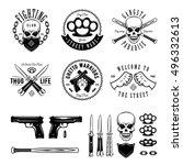 gangster labels badges emblems... | Shutterstock .eps vector #496332613