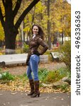 autumn fashion image of young... | Shutterstock . vector #496336363