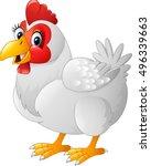 cartoon hen isolated on white... | Shutterstock .eps vector #496339663